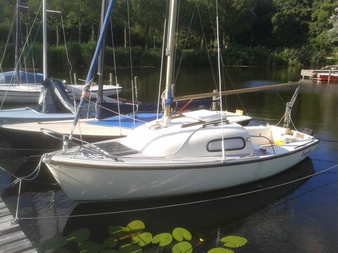 A picture of Coppelia on her mooring